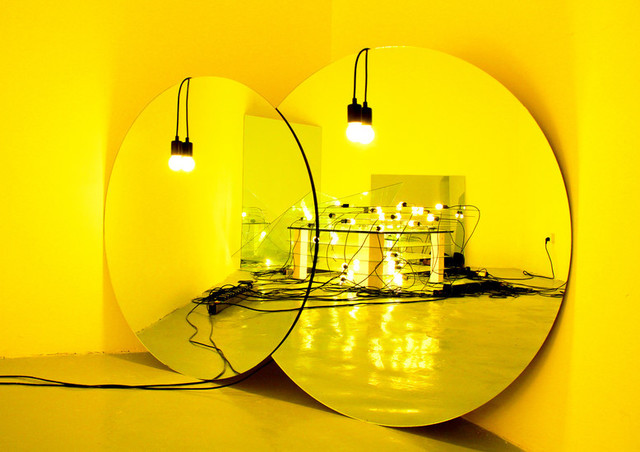 Zhang Ding, 'Untitled', 2015, Installation, Glass mirror, stainless steel plate, incandescent bulb, spotlight, bulb socket, wire, ShanghART