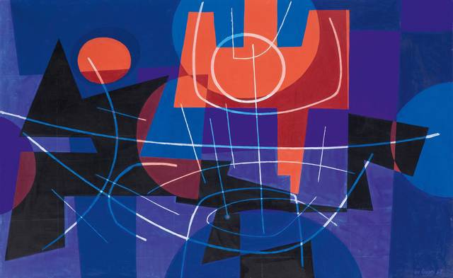 Leo Leuppi, 'Trident rouge', 1958, Painting, Oil on canvas, Koller Auctions