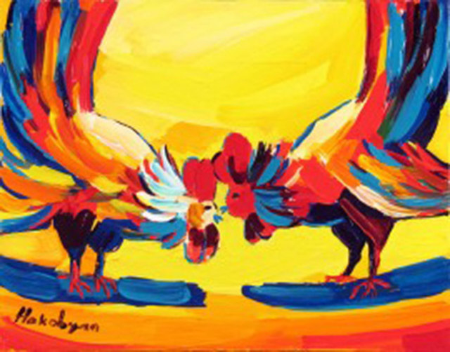 Harout Hakobyan, 'Two Roosters', ca. 2000, Painting, Oil on Canvas, Janus Galleries