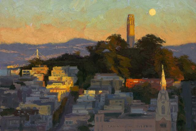 , 'Moonrise Over Coit Tower,' ca. 2018, STUDIO Gallery