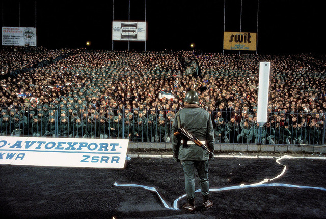 , 'Martial Law. Football match between Legia Warszawa and Dynamo Tbilisi, a Soviet team, at the Legia Stadium in Warsaw, March 1982. Several thousand soldiers and police were placed in the stands to ensure that no anti-Soviet disturbances took place.,' 1982, Ney Gallery & Prints