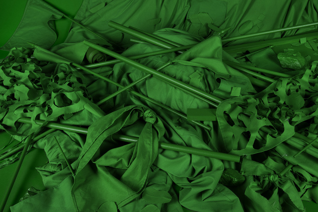 , 'Chromakey Aftermath 1 (Flags, Sticks, and Barriers),' 2017, RYAN LEE