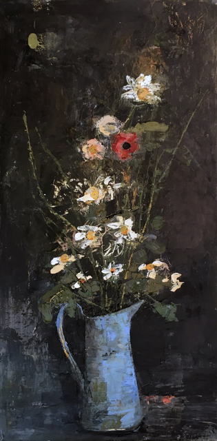 Ġoxwa, 'Blue Vase', Painting, Oil and wax on canvas, Hugo Galerie