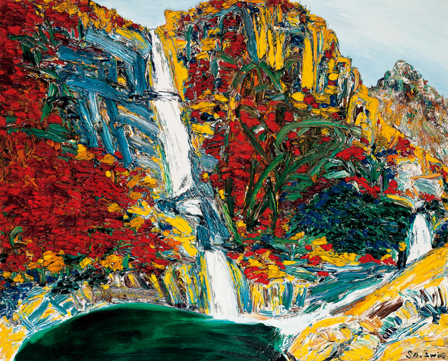 Sa Sukwon, 'Blue Water on Bibong Waterfall Tints a Person's Cloth in Autumn', 2006, Seoul Auction