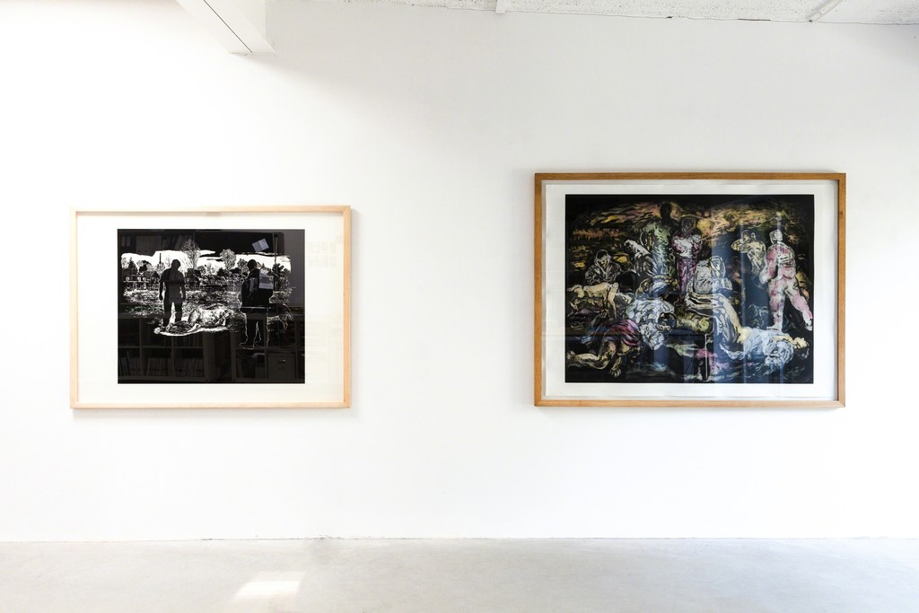 "exhibition view: linocut, 100 x 140 cm (left) and ""Arabesque"", etching painted over, 100 x 150 cm (right), Stijn Peeters 