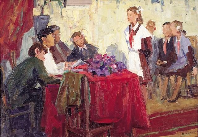 Nadezhda Eliseevna Chernikova, 'Entering the Komsomol', 1965, Surikov Foundation
