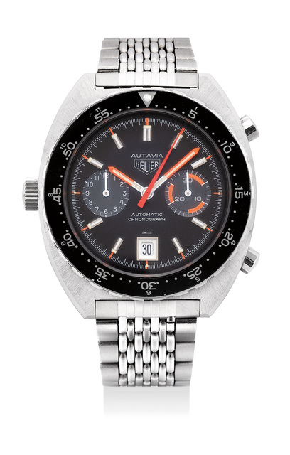 Heuer, 'A rare and well-preserved stainless steel chronograph wristwatch with date and bracelet', Circa 1970s, Phillips