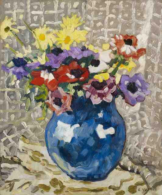 , 'Anémones et marguerites au vase bleu,,' 1933, Stoppenbach & Delestre