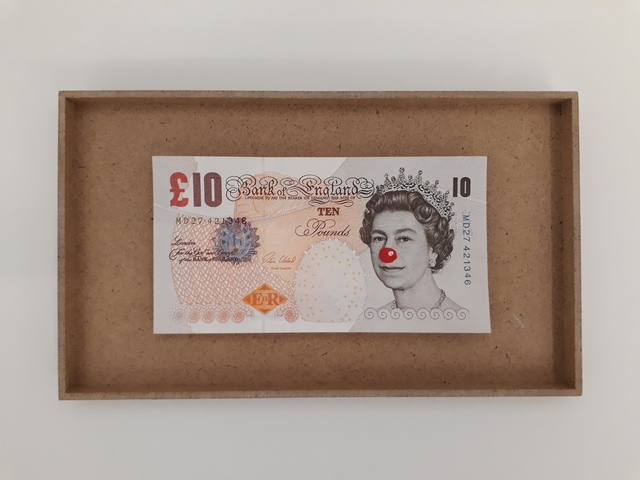 , '10 Pound bill with clown nose,' , Galerie Mehdi Chouakri