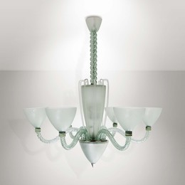 A mod. 2028 lamp with a metal structure and coloured Murano glass