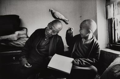 Tulku Khentrul Lodro Rabsel, age 12, with his tutor Lhagyel. Shechen Monastery in Bodnath, Nepal