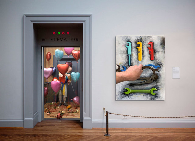 Gregory Scott, 'Elevator', 2019, Mixed Media, Pigment print, objects on panel, and UHD video, Catherine Edelman Gallery