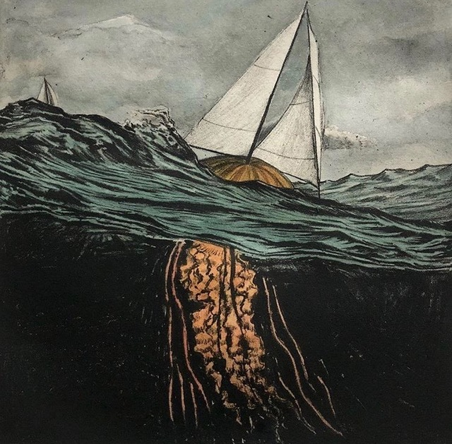 Scott Bluedorn, 'Adrift', 2019, Print, Solarplate etching with watercolor, ARC Fine Art LLC