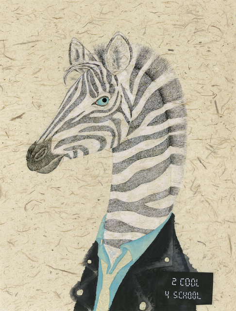 Fung Kuen Suet, Michelle, 'Artist Mugshot: Zebra', 2018, Painting, Mixed Media on Cloud-dragon Handmade Paper, Contemporary by Angela Li