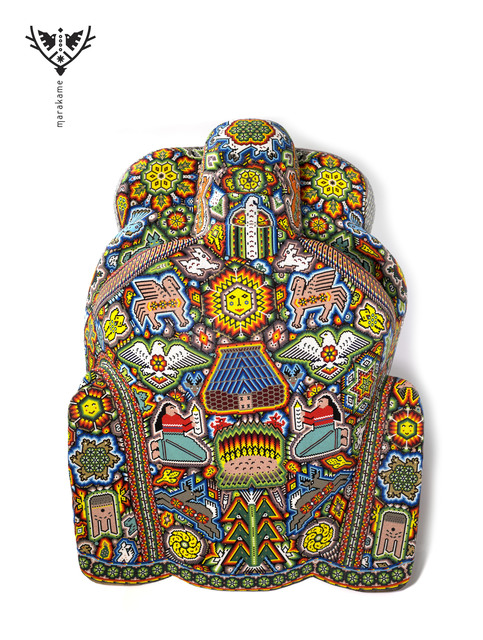 "Sergio Bautista de la Cruz, 'Cabeza de Jaguar ""Maye""', 2019, Marakame - Arte Huichol"