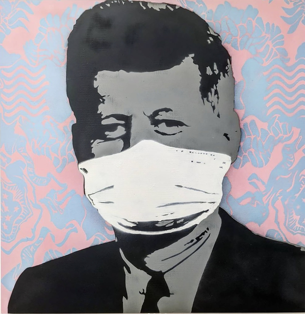 "Kar-Part, '""Mask, Not What Your Country Can Do For You"", PINK  aerosol on wood', 2020, Painting, Aerosol on wood, Wallspace"