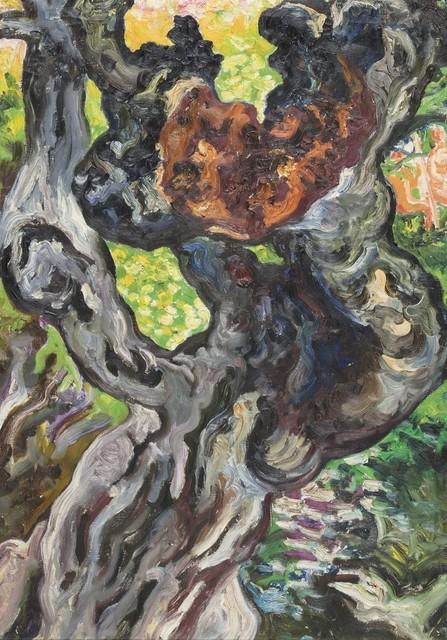Carlo Levi, 'Tronco d'albero - il carrubo dietro la baracca con Guido e Marcella sullo sfondo', 1971, Finarte