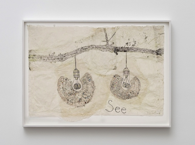 Kiki Smith, 'See', 2008, Drawing, Collage or other Work on Paper, Ink, coloured pencil and glitter on Nepalese paper, Mirav Katri