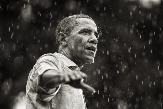 , 'Obama speaks in the rain during a campaign rally in Glen Allen, Virginia,' 2012, Monroe Gallery of Photography