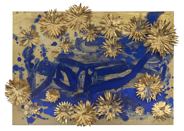 Nancy Lorenz, 'Reclining Buddha with Flowers', 2010, Other, Gold Ieaf, giIt copper, pigment, on wood panel, Leila Heller Gallery