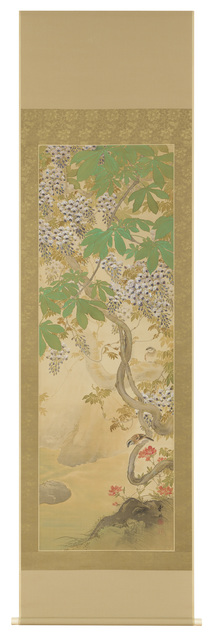 Hirose Touho, 'Hanging Scroll, Wisteria and Sparrows (T-3797)', Taisho era (1912 to 1926)-1920s, Painting, Ink and mineral colors on silk., Thomsen Gallery