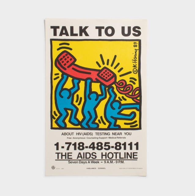 Keith Haring, 'TALK TO US + ¡LLAMANOS! (1989 AIDS Hotline Campaign Posters)', 1989, Ephemera or Merchandise, Ink, paper, Artificial Gallery