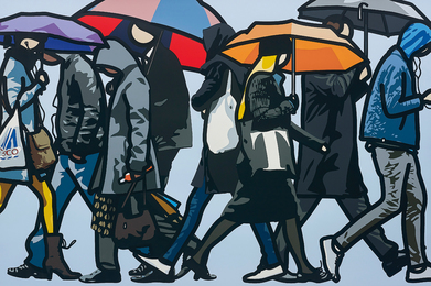 Julian Opie, 'Walking in the Rain, London,' 2015, Phillips: Evening and Day Editions