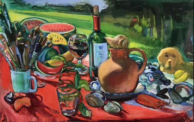 , 'Still Life with Watermelon Lunch and Masaccio, the Dog,' 2018, BCK Fine Arts Gallery at Montauk