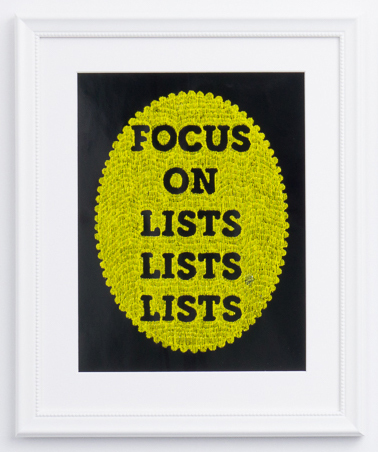 , 'Focus on Lists Lists Lists,' 2017, Wil Aballe Art Projects | WAAP