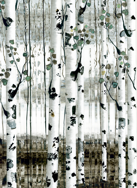 , 'Aspens with Patinated Leaves and Distant Mountains,' , Diehl Gallery