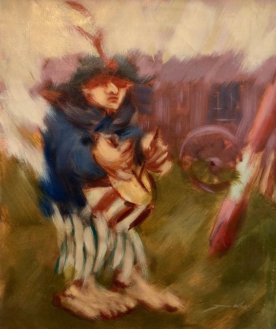 Artur Duch, 'Spanish Catalan Modernist Oil Painting Drummer Boy Figurative Abstraction', 20th Century, Lions Gallery