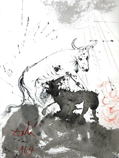 Salvador Dalí, 'The Lion Eating Straw Like The Ox', 1967, Print, Original colored lithograph on heavy rag paper, Baterbys