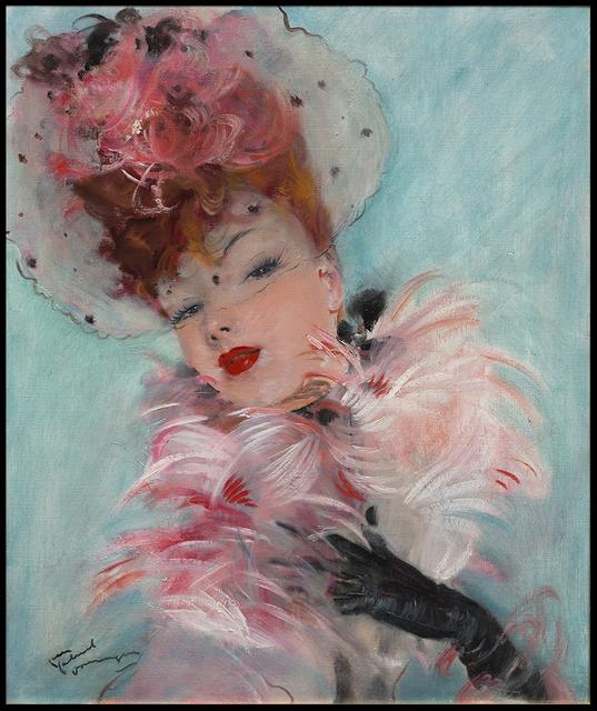 , 'Portrait au Boa Rose,' 20th Century, Galerie de Souzy