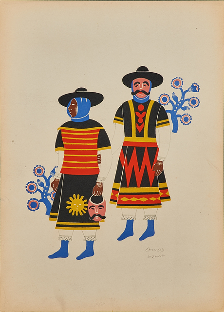, 'Two Men From Huixquilucan at the Fiesta of the Huehuenches,' 1940, Hecho a Mano