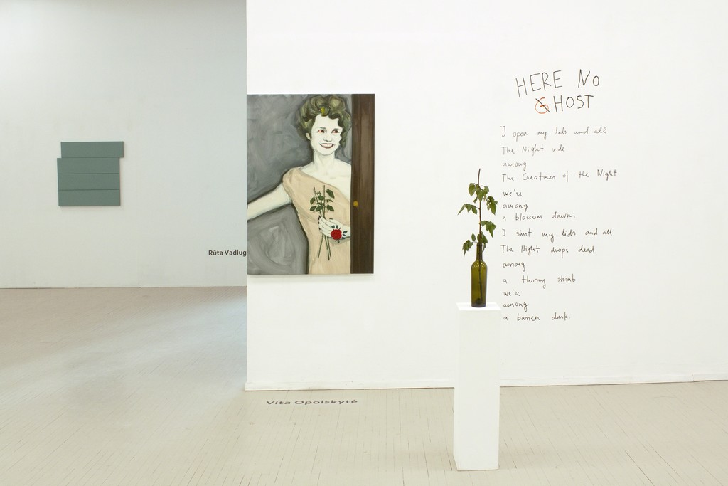 "Fragment of exhibition ""Counter-argument II"" with works by Rūta Valdugaitė (on the left) and Vita Opolskytė (on the right). Photography by Airida Rekštytė."
