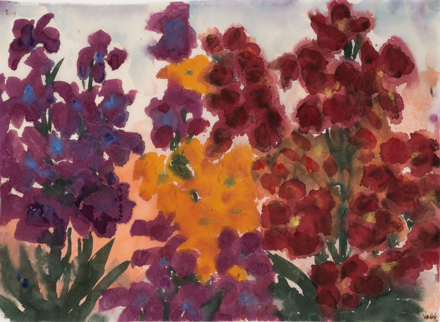 Emil Nolde, 'Gelbe, rote und violette Blumen (Sommerblumen)', ca. 1930, Drawing, Collage or other Work on Paper, Watercolour on Japan paper, Galerie Schwarzer