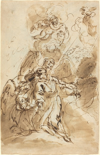 Sebastiano Ricci, 'The Ecstasy of Saint Francis [recto]', 1720/1730, Drawing, Collage or other Work on Paper, Pen and brown ink and brown wash on laid paper, National Gallery of Art, Washington, D.C.