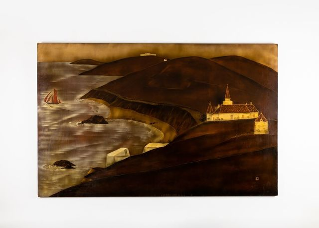 , 'Lacquered Panel Depicting a Seaside in Normandy,' ca. France-circa 1920s, Maison Gerard