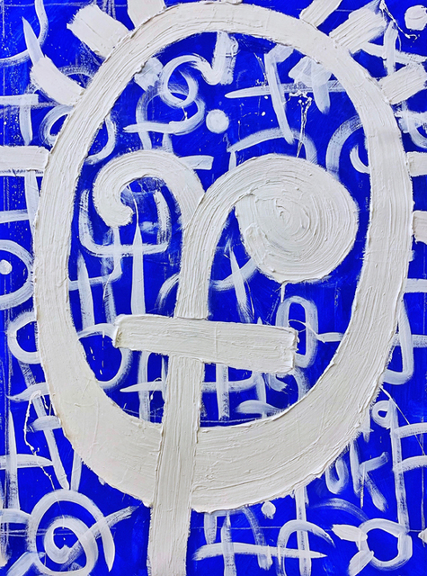 Victor Ekpuk, 'Composition in Blue 1 ', 2019, Aicon Gallery