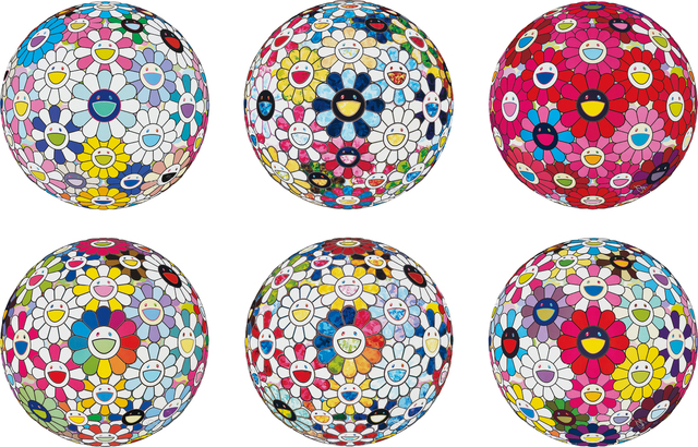 Takashi Murakami, 'Cosmic Power; The Flowerball's Painterly Challenge; Thoughts on Picasso; Flowerball: Want to Hold You; Scenery with a Rainbow in the Midst; and Flowerball: Open Your Hands Wide', 2014-2016, Phillips