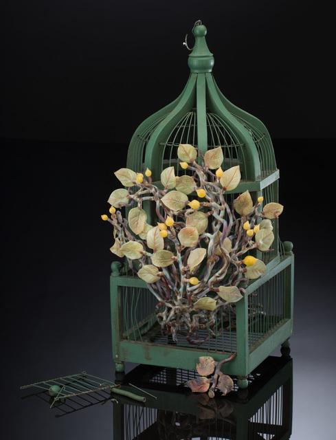 Kathleen Elliot, 'Liberty #1', 2015, Sculpture, Flameworked glass, found bird cage, HABATAT