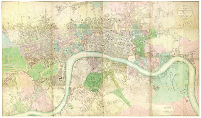 Richard Horwood, 'Plans of the Cities of London and Westminster, The Borough of Southwark and Parts Adjoining, Shewing Every House. By R. Horwood. [and bound in as key sheet] Bowles's One-Sheet Plan of the Cities of London and Westminster... 1800.', 1799, Daniel Crouch Rare Books