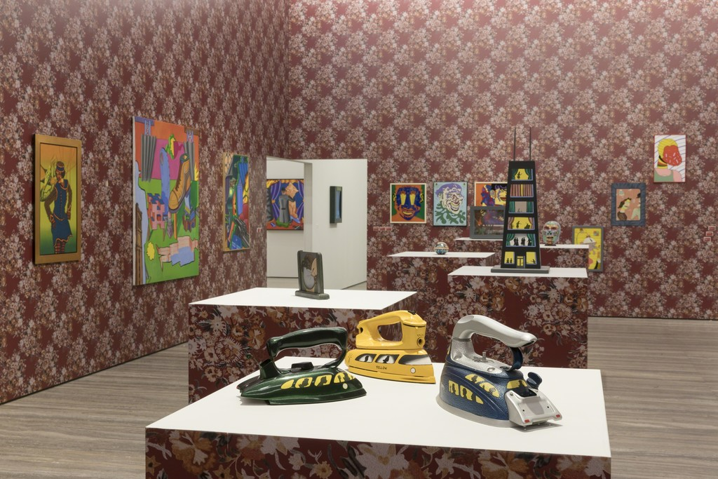 """View of the exhibition """"Famous Artists from Chicago. 1965-1975"""" Artworks by Roger Brown, Ed Flood, Art Green, Jim Nutt e Ed Paschke and Karl Wirsum Fondazione Prada, Milan 20 October 2017 - 15 January 2018 Photo Roberto Marossi Courtesy Fondazione Prada"""