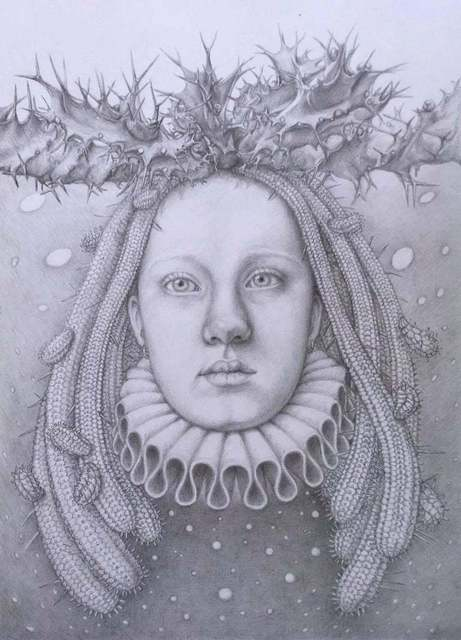 Chikako Okada, 'Infanta Nocturna / graphite drawing on paper, woman's head with succulents ', 2019, Andra Norris Gallery