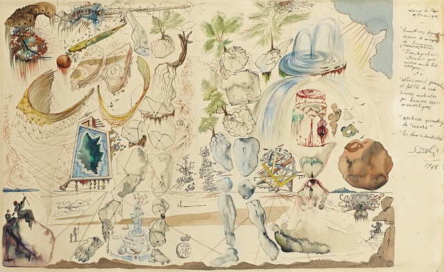 Salvador Dalí, 'Vision de l'age atomique', 1948, Drawing, Collage or other Work on Paper, Watercolour and pen and ink on paper, Omer Tiroche Gallery