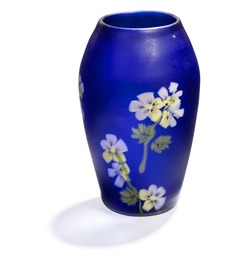 """""""Floreali"""". Small blue frosted glass vase. Inlaid with glass flowers in shades of pink, yellow and green."""