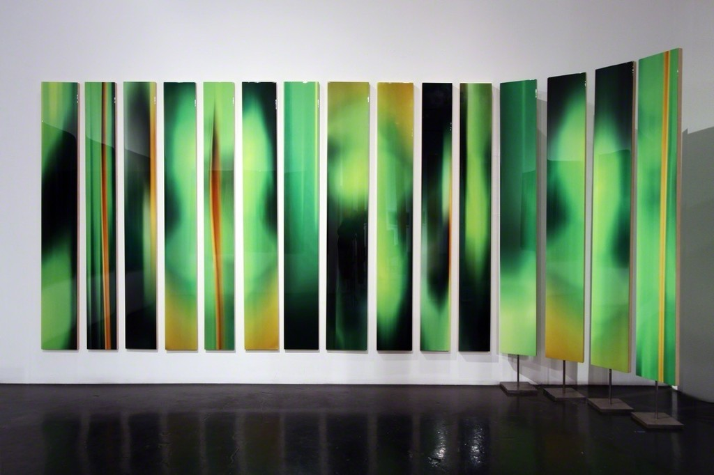 """Michel Tabori, Abstract Forest, 2017, Oil, acrylic, resin, canvas on maple panel, 84"""" x varying widths, $5,500 each ($6,500 each for two-sided panels mounted on steel bases)"""