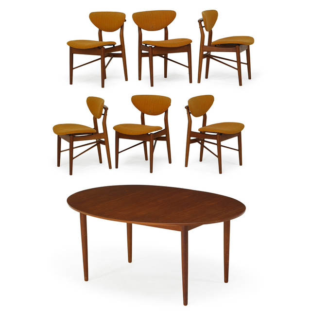 Finn Juhl, 'Dining Table And Six Chairs, Denmark', 1950s, Rago/Wright