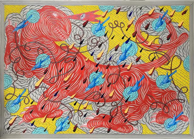 , 'Entangled Beast (Golden Wall, Blue Birds),' 2017, Joshua Liner Gallery