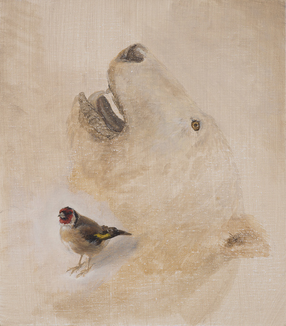 , 'Polar Bear and Goldfinch,' 2017, The Scottish Gallery